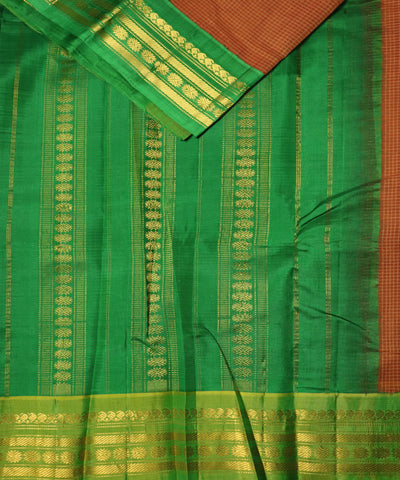 Amber orange color Gadwal cotton saree