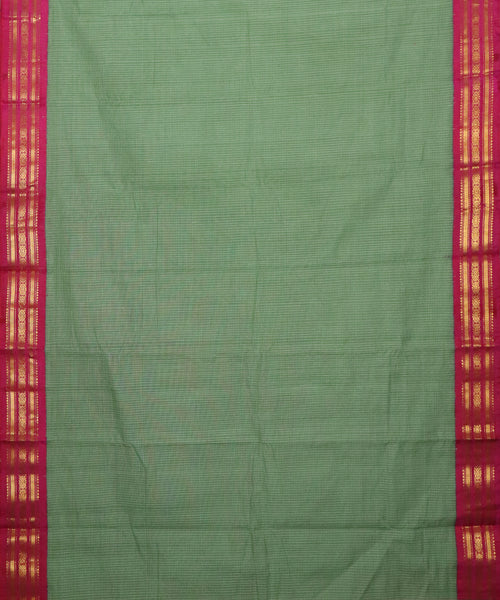 Hunter green color Gadwal cotton saree