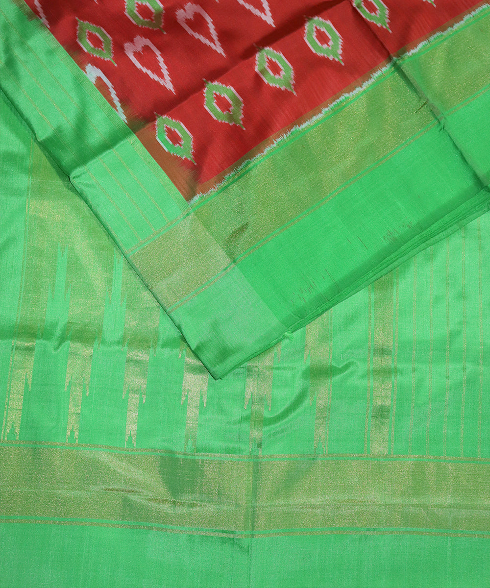 Scarlet red color pochampally silk saree