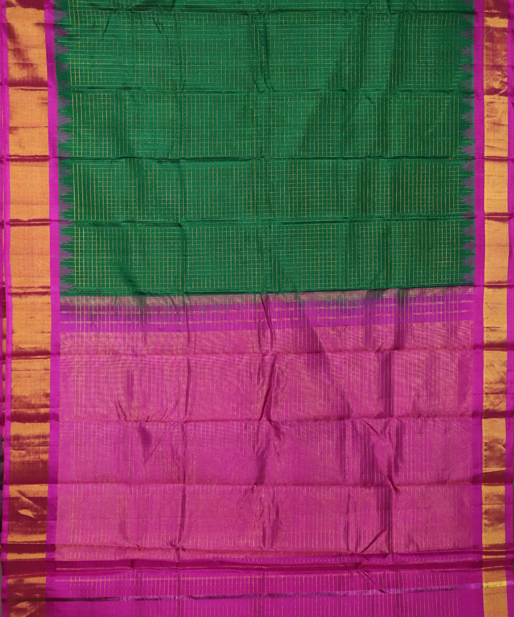 Forest green color handloom Gadwal Silk saree