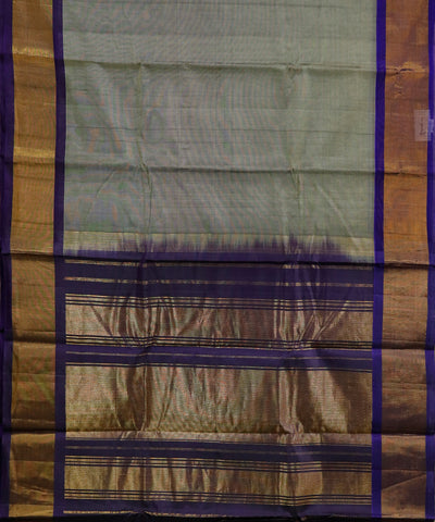 Handwoven Gadwal SICO Saree In Dark Grey