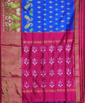 Light blue pochampally mercerized Cotton Saree