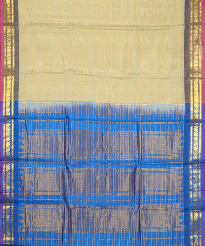 Sepia yellow Handloom Gadwal SICO saree