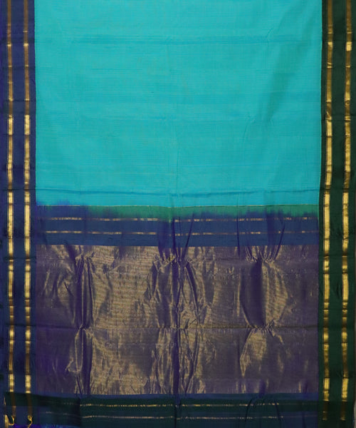 Pine green color Gadwal cotton saree