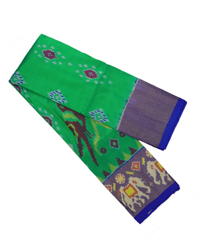 Green and navy blue silk ikath pavada