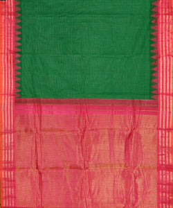 Forest green color Gadwal cotton saree