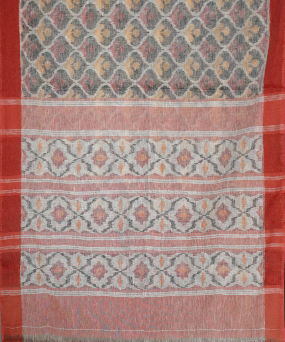 Multi-color Linen ikkat handllom saree