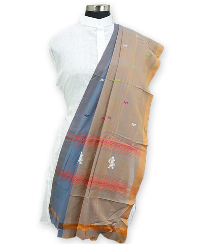 Airforce blue and brown Gollabhama dhupatta