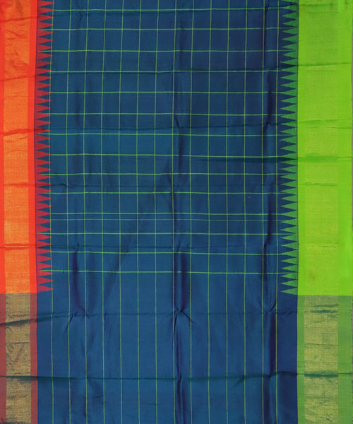 Prussian blue color handloom Gadwal Silk saree