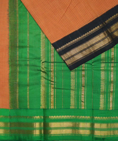 Brown color Gadwal cotton saree