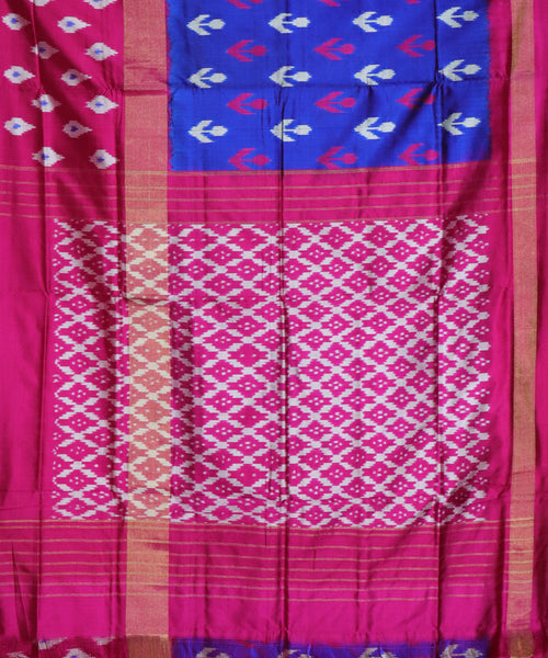 Blue color pochampally silk saree