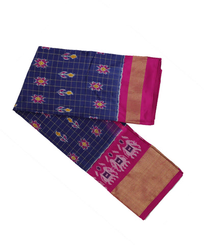Space blue and pink silk ikath pavada