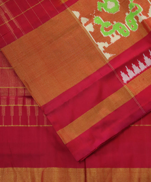 Parrot green Pochampally Silk Sarees
