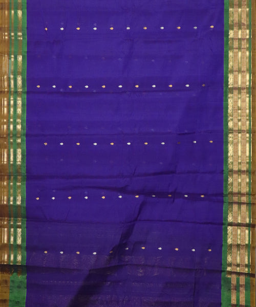 Dark blue Handloom Gadwal SICO saree