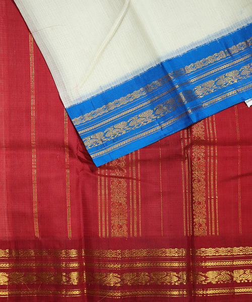White color Gadwal cotton saree