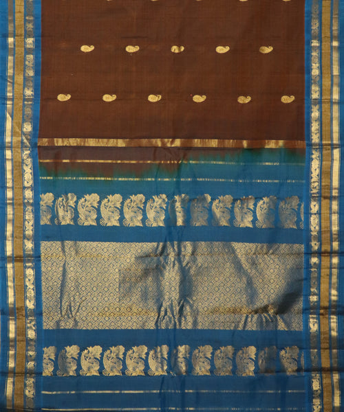Syrup brown Handloom Gadwal SICO saree
