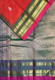 Chilli red Handloom Gadwal SICO saree