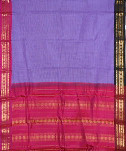 Grape violet color Gadwal cotton saree