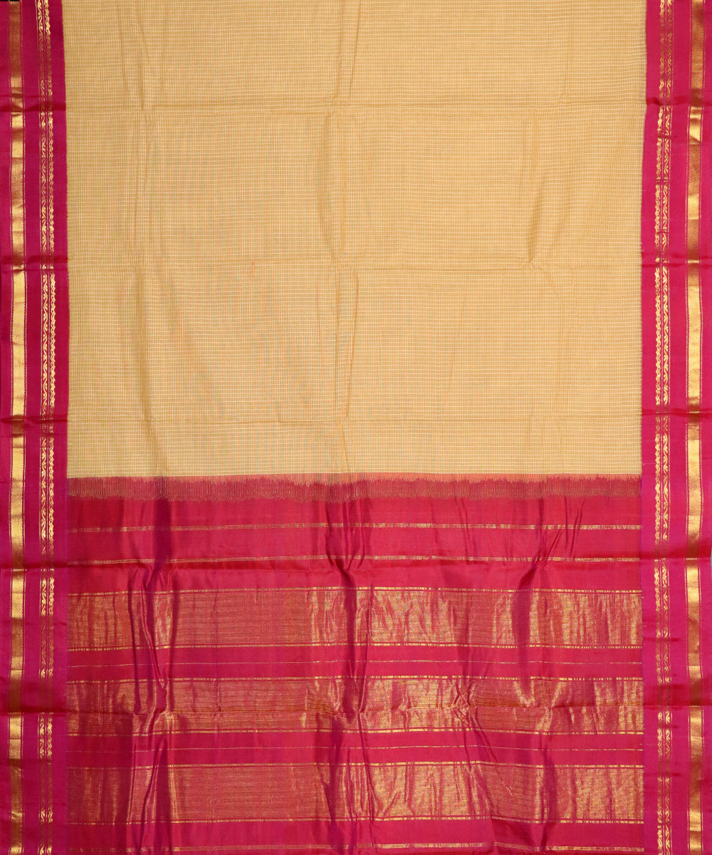 Tortilla brown color Gadwal cotton saree
