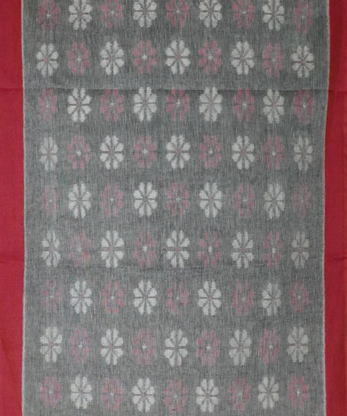 Shadow gray color Linen ikkat handllom saree