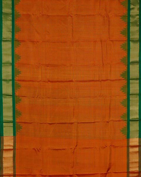 Pumpkin orange color handloom Gadwal Silk saree