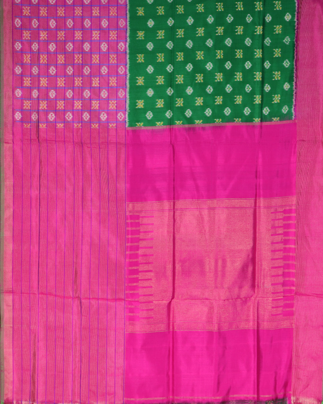 Pink and half green color pochampally silk saree
