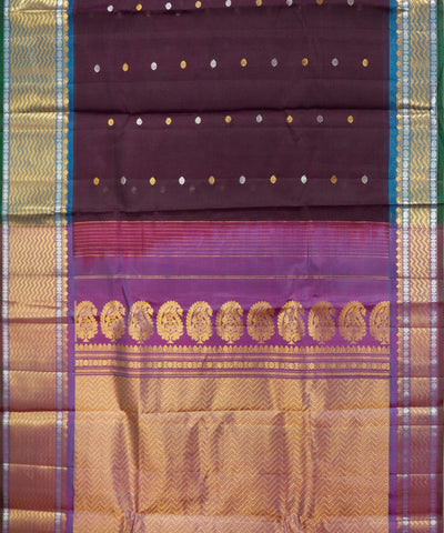 Handwoven Gadwal SICO Saree In Dark Violet