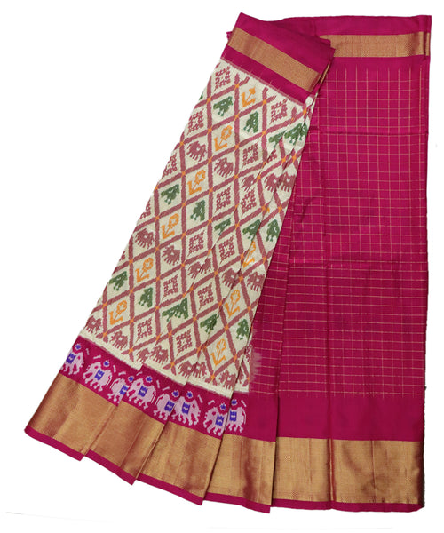 Cream and pink silk ikath pavada