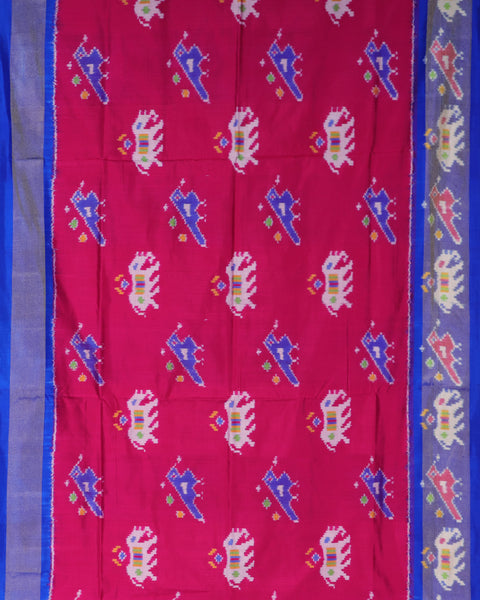 Dark pink color pochampally silk saree
