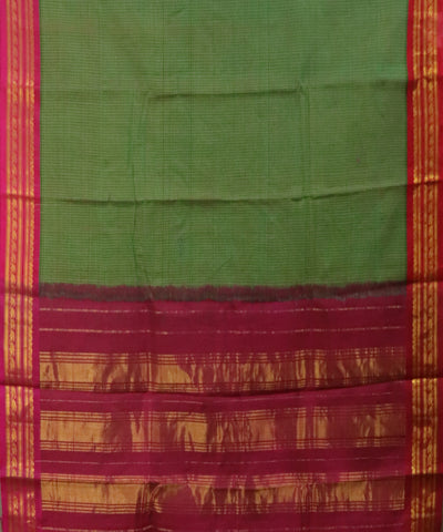 Olive green Gadwal Cotton saree