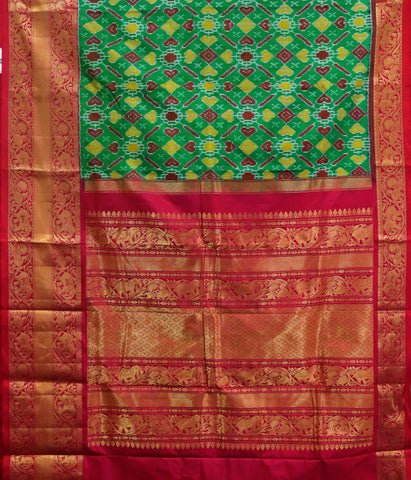 Dark green Kanchi Tie & Die handloom silk saree