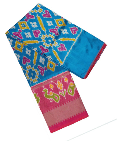 Olympic blue and pink silk ikath pavada