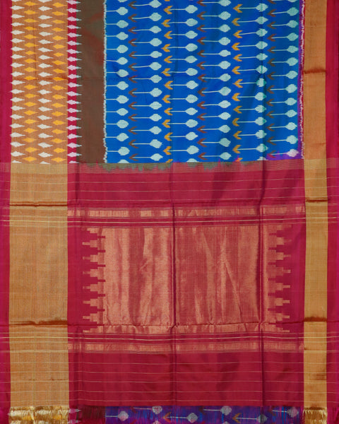 Sapphire blue color pochampally silk saree