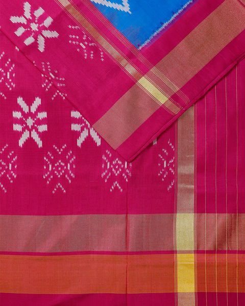 Azure blue color pochampally silk saree