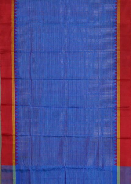 Denim blue color pochampally silk saree