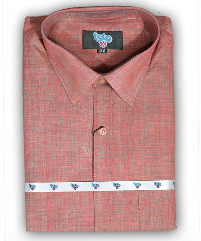 Fire brick red color shade handwoven khadi shirt