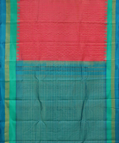 Raspberry red shade handloom Gadwal Silk saree