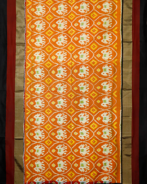 Tangerine orange color pochampally silk saree