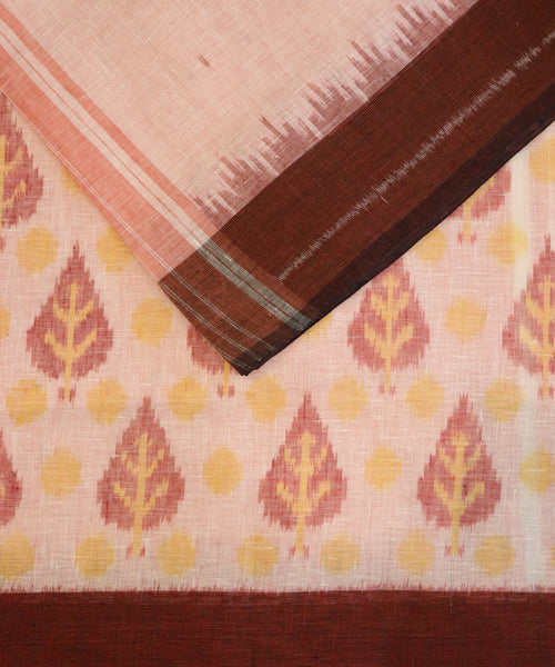 Cream color Linen ikkat handllom saree