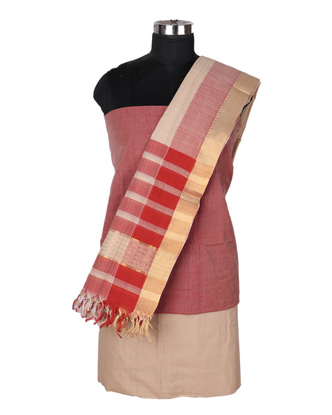 Thulian pink Gadwal Cotton saree