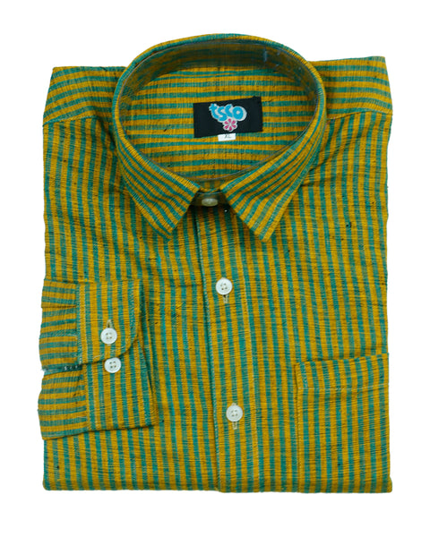 Cyber yelllow color handwoven khadi shirt