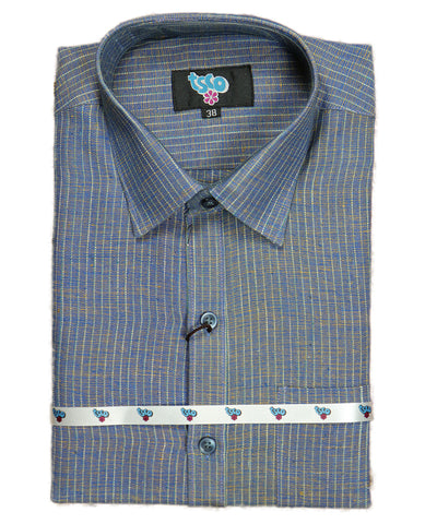 Multi-shade color handwoven khadi shirt