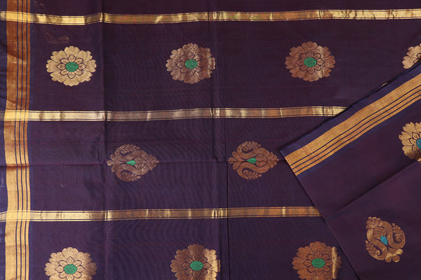 Eggplant violet handloom Rajahmundry fancy cotton saree