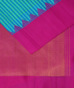 Olympic blue shade handloom Gadwal Silk saree