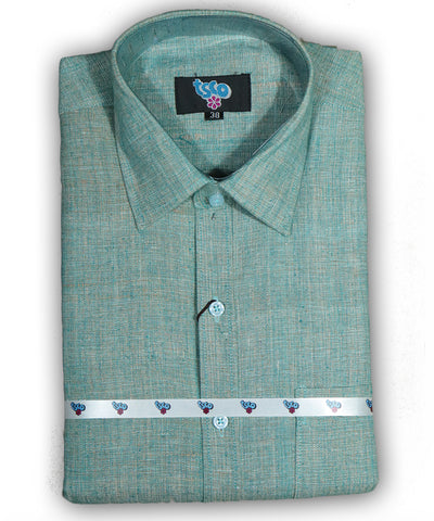 Hunter green shade color handwoven khadi shirt