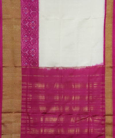 Pure white pochampally linen Cotton Saree