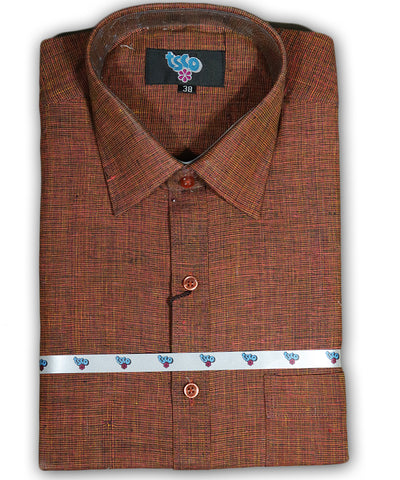 Barnred shade color handwoven khadi shirt
