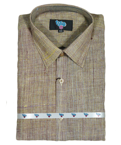 Caramel brown shade color handwoven khadi shirt