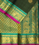 Dark pine green Gadwal SICO saree