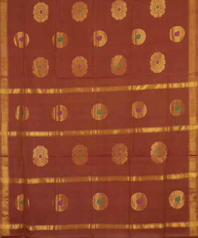 Amber orange handloom Rajahmundry fancy cotton saree